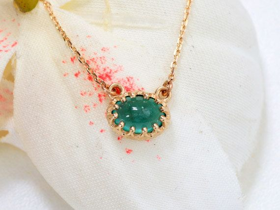 Vintage Emerald Necklace in 14k Yellow Gold May by PristineJewelry
