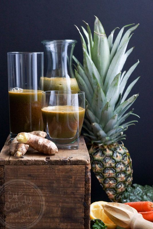 Carrot, lemon, ginger and pineapple juice via @eyecandypopper