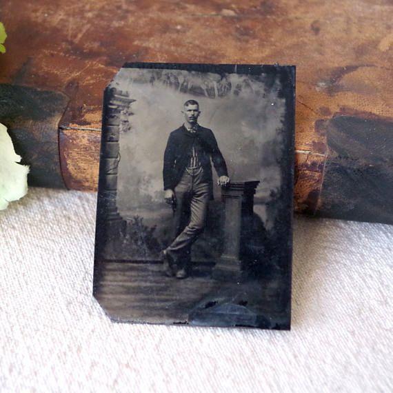 Antique Tintype Photo Portrait of a Man  Full Body Vintage