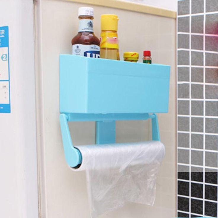 HOT Magnetic Refrigerator Shelf Kitchen Storage Rack Bottle Rack Cling Film Holder(blue)