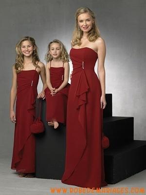 Robe de demoiselle d'honneur 2012 en rouge bordeaux