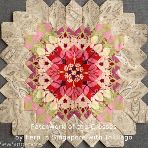 This is just one of Fern's amazing POTC blocks! Using Inklingo, Fern was able to finish in only 7 months!  The whole quilt was finished in 2013 and exhibited in Houston in 2014. See more of Fern's artistry on the All About Inklingo blog.  http://www.lindafranz.com/blog/patchwork-of-the-crosses-by-fern/ Fern sewed the hexagons by hand when she was traveling and by machine when she was at home.