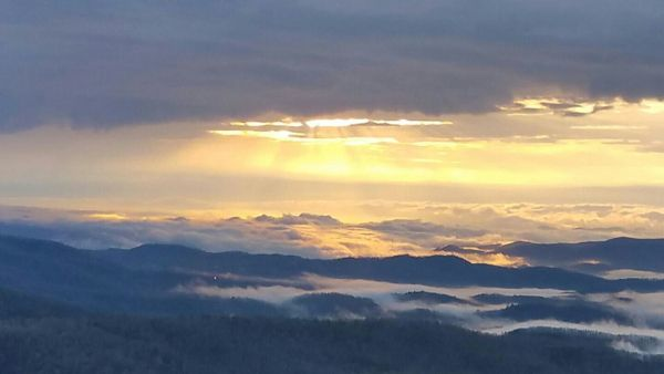 """""Sea of Fog"" photos are always neat, but Denise Evans sends a unique one with sun lighting top of the fog. The photo was taken from Blowing Rock, NC. Thanks!""  raysweather.com - Photo for 04/07/17"
