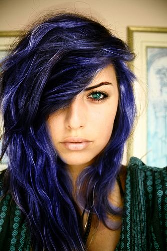 midnight blue | For more crazy hair times, click here--> https://www.pinterest.com/thevioletvixen/crazy-hair-times/ WANT AND NEED.