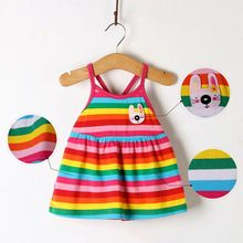 Lindo Toldder infantil bebê meninas listrado vestido de uma peça do arco-íris vestidos sem mangas 0 - 18 M x alishoppbrasil