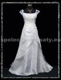 Bílé dlouhé svatební šaty na hrubší ramínka pro plnoštíhlé 48-50 <b>…</b>