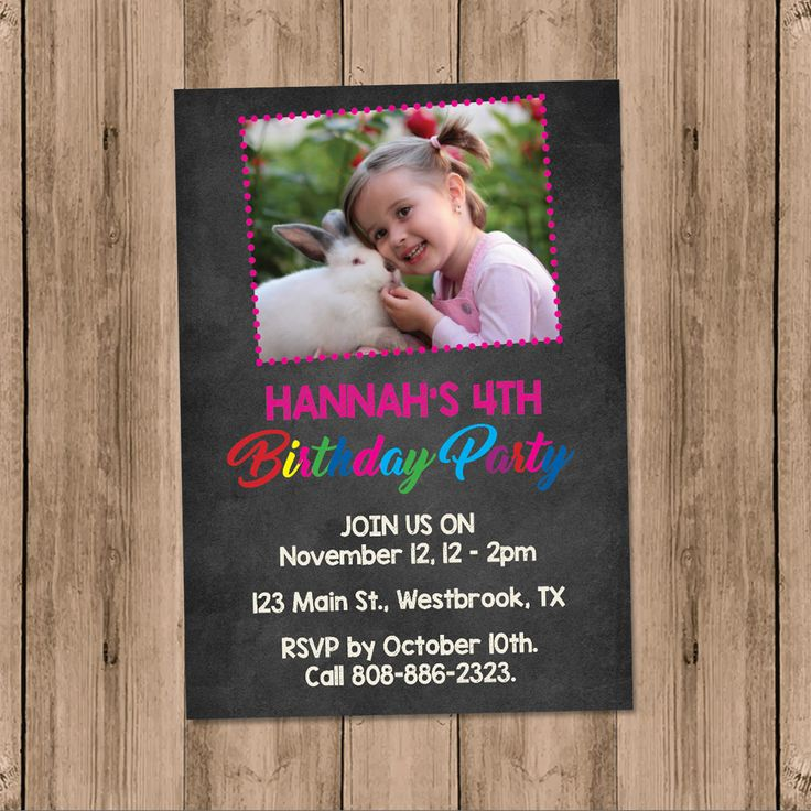 Chalkboard Invite, Girl Birthday Invite, Rainbow Invitation, Girl Photo Invite, Pink Invite Custom, Blackboard Invite, Personalized Invite. A personalized way to do a DIY invitation and get just the way you want it! Add a photo of your choice, include your info and voila! #invitation #printableinvitation  #printableinvite #diyinvites #CUSTOMINVITATION #photoinvites