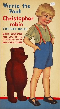 Winnie the Pooh and Christopher Robin Cut-Out Dolls, with artwork attributed (possibly) to Queen Holden, based on the A. A. Milne children's book character, United States, 1935, by Stephen Slesinger, Inc.