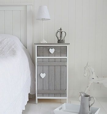 Grey and white Heart Cottage Shabby Chic bedside cabinet. The White Lighthouse offers bedside tables and cabinets in grey and white to our own unique style combining New England, Cottage, French, Vintage and Coastal