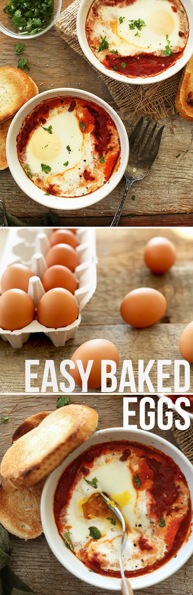 Easy Baked Eggs! The perfect weekend brunch or lazy morning healthy breakfast. | minimalistbaker.com