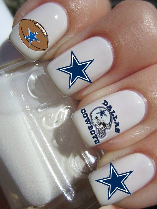The Dallas Cowboys NFL Football nail decals will make you the best looking fan around!    The nail decals come in a pack of 25 nail decals and