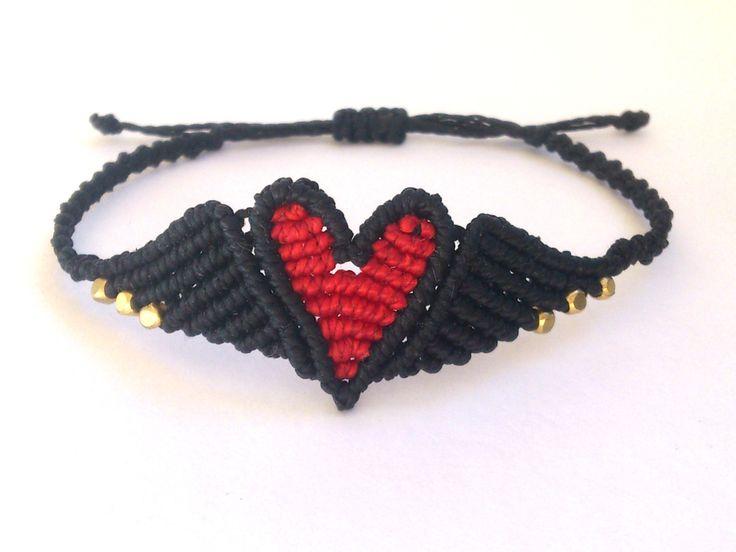 Ali di Angelo Macrame bracciale braccialetto/amicizia cuore