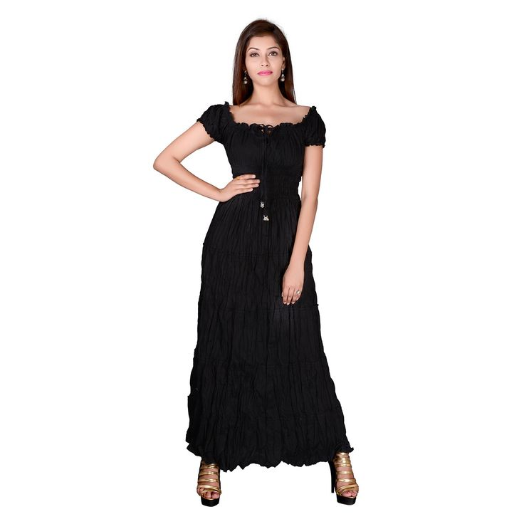 Evening Gown Classy Black Dress, Unique Women Dress, Cotton #dress