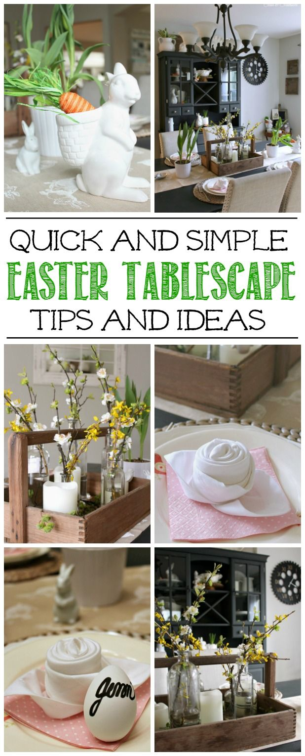 Simple and pretty Spring and Easter tablescape ideas! Pin for Easter brunch or dinner.