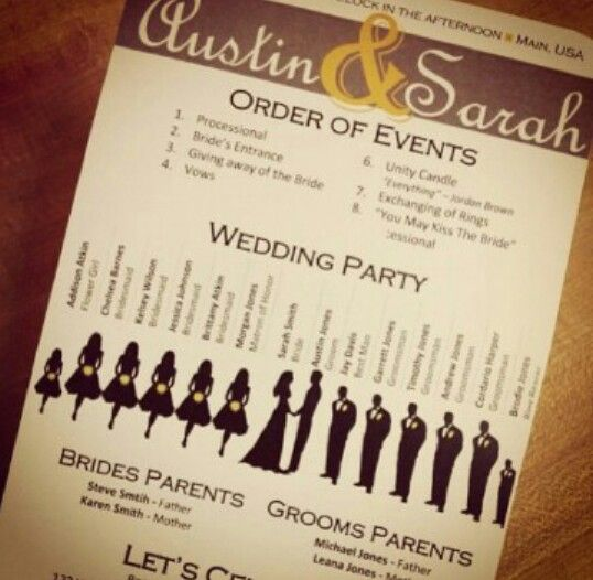 Unique Wedding Programs Your Guests Wont Have To Wonder About The Names Of The People In Your
