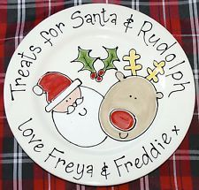 Personalised Ceramic Treats or Cookies for Santa Plate Christmas Xmas Gift Small