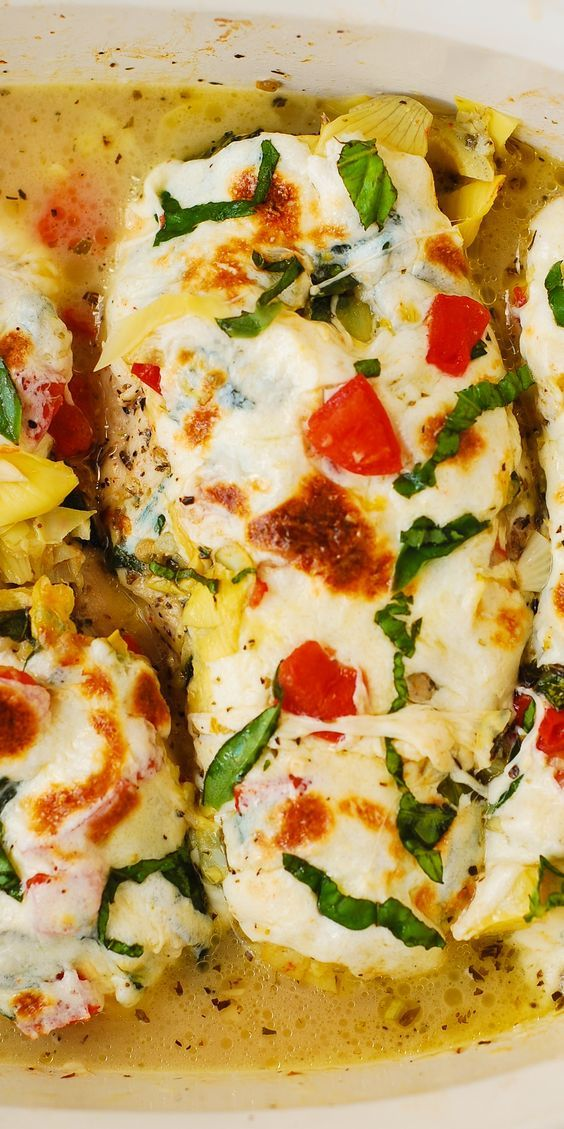 Tomato Basil Artichoke Baked Chicken breasts with melted mozzarella ...
