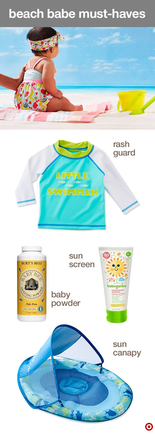 Heading to the beach over spring break? Make sure they're protected with all the fun-in-the-sun must-haves. Babyganics sunscreen protects their delicate skin and is available in a stick, spray or lotion. A hat, cool sunglasses, swimsuit and rash guard from Baby Cat & Jack allows for extra-fun (and coverage) at the beach. And introduce them to the water while keeping them shaded with the SwimWays float sun canopy. TIP: Baby powder helps remove sticky sand from skin. Plus, it smells great…