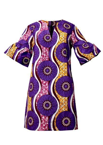 Wear our lovely Eya modern African dress for a colorful day or night look. This African print dress features fun ruffle sleeves. Order one for your wardrobe!