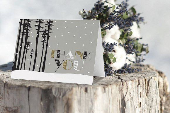 Thank You Card Snow Forest Scene @creativework247