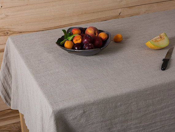 Natural linen tablecloth-Washed Linen tablecloth by LinenHomeDecor