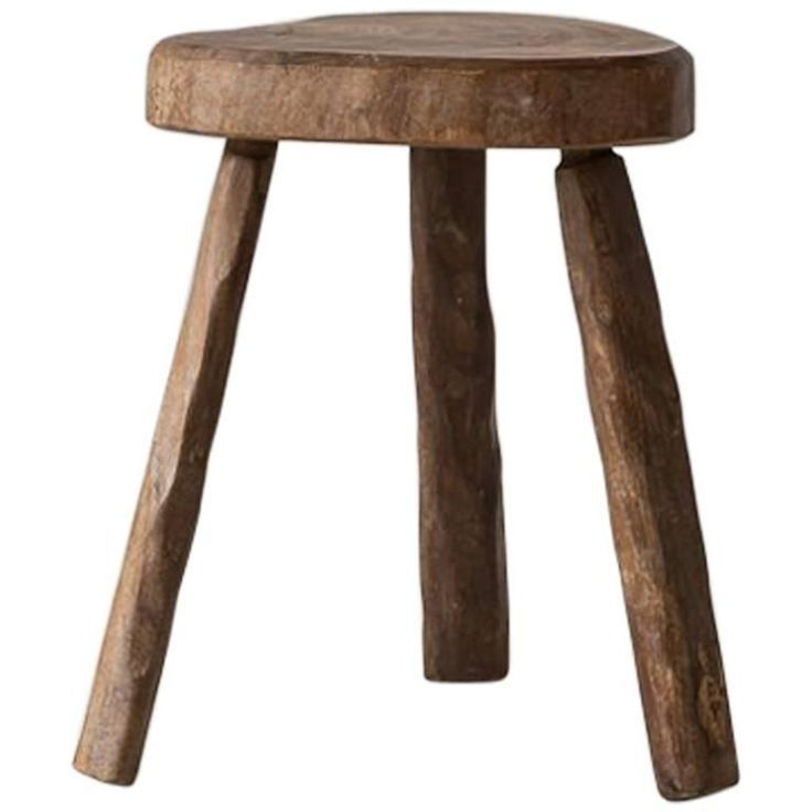 French Rustic Heart Shaped Tripod Wooden Stool Wooden Stools