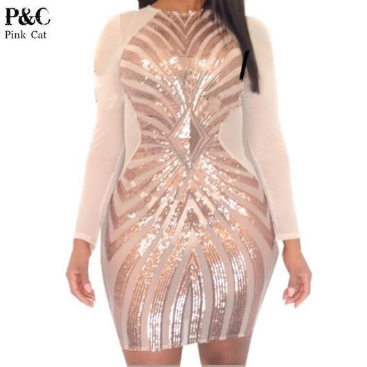 Seductive Women XXXL Plus Size Rose Gold Geometric Pattern Sequin Bodycon Dress Womens Sexy Dresses Party Night Club Dress - On Trends Avenue