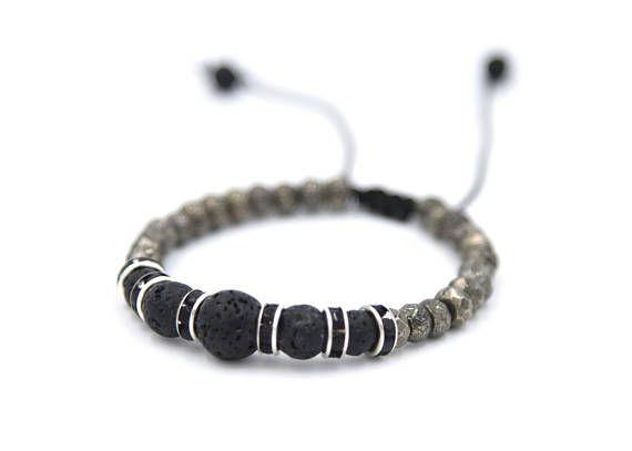 Pirite bracelet for men anniversary gift lava bracelet