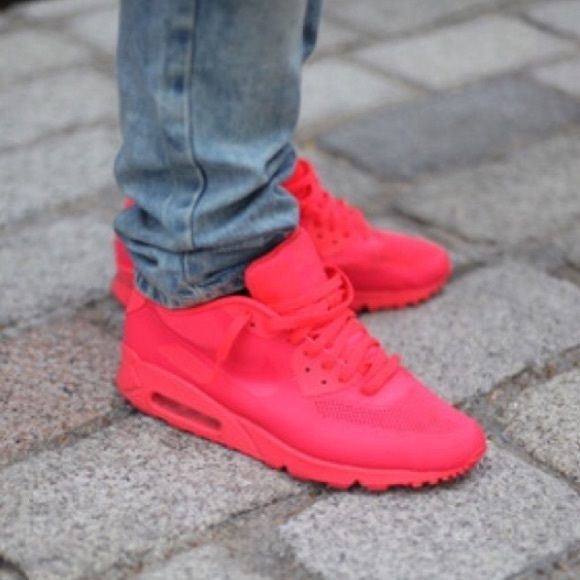 Nike ID fluorescent red pink airmax shoes yeezy like new, purchased for $200 off eBay. all offers are to be made using the button. relisting since my last customer canceled the order after purchasing. no trades. similar to the Yeezy Red Octobers. comes with shoes only Nike Shoes Sneakers