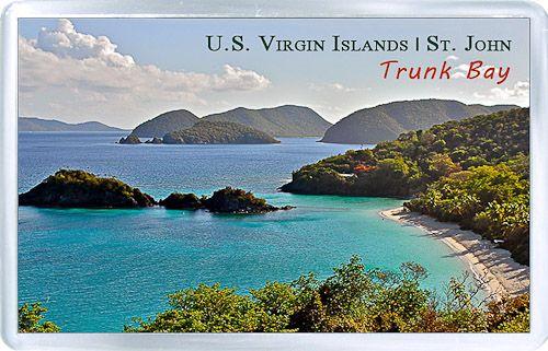 $3.29 - Acrylic Fridge Magnet: United States Virgin Islands. Trunk Bay. St. John