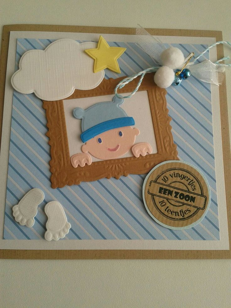 Geboortekaart zoon met babyhoofdje in lijstje,voetjes,wolkje,ster en versiersel.