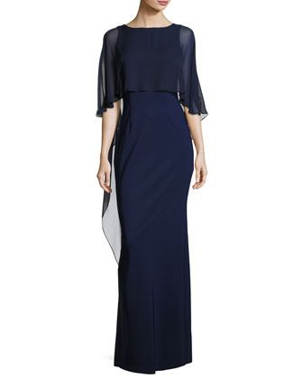 Stretch+Crepe+Column+Gown,+Blue+by+Rickie+Freeman+for+Teri+Jon+at+Neiman+Marcus.