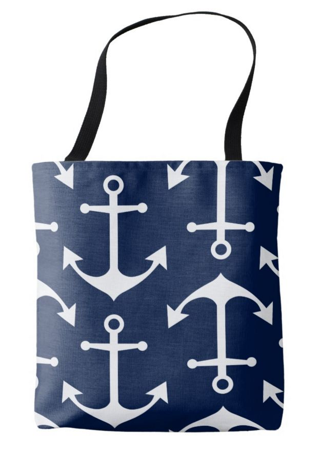 White Anchor on Navy Blue Nautical Bag White anchor pattern on navy blue bag. For all sailors and everyone, who loves nautical. #nautical #fashion #bag #anchor