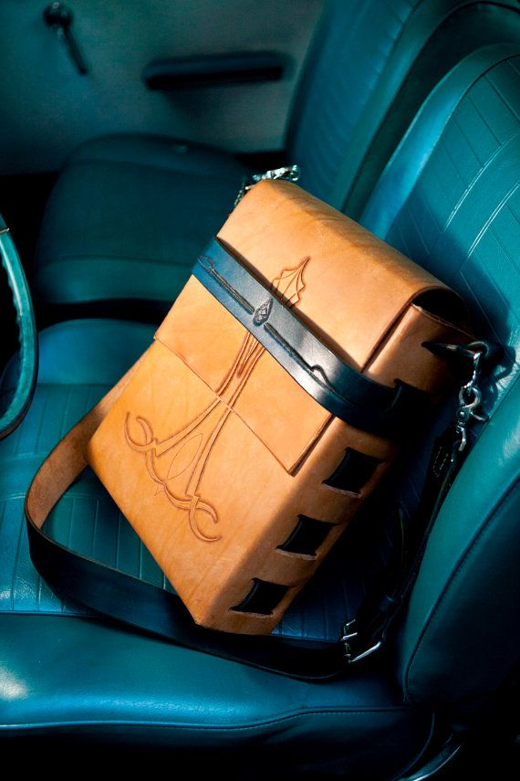 Men's tooled messenger bag tooled hot rod by TrimGoTrix on Etsy, $250.00