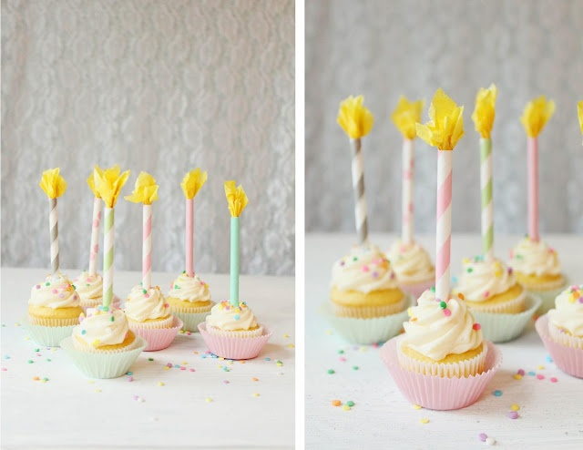 DIY Paper Straw Birthday Candle Cupcake Toppers    Paper straws, color and pattern of your choice  Yellow tissue paper  Glue  Optional glitter