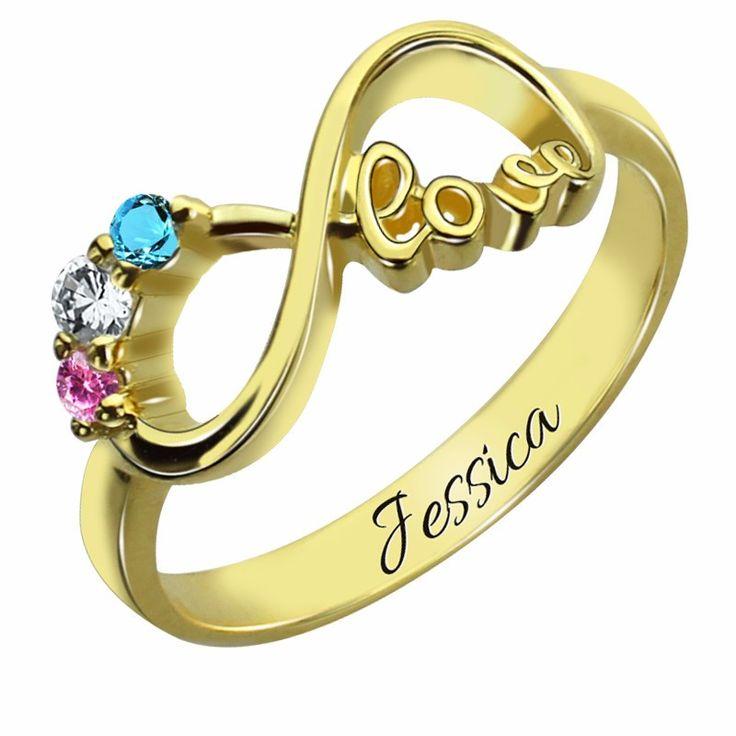 Three Birthstone Infinity Love Gold Ring
