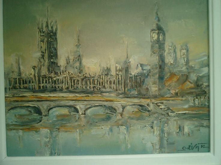 Pictor Ioan Cristea - Peisaj din Londra u/p 50/40 cm