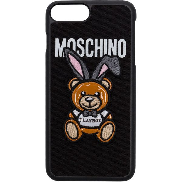 Moschino Bear Cover I-Phone 7plus ($76) ❤ liked on Polyvore featuring accessories, tech accessories, black and moschino