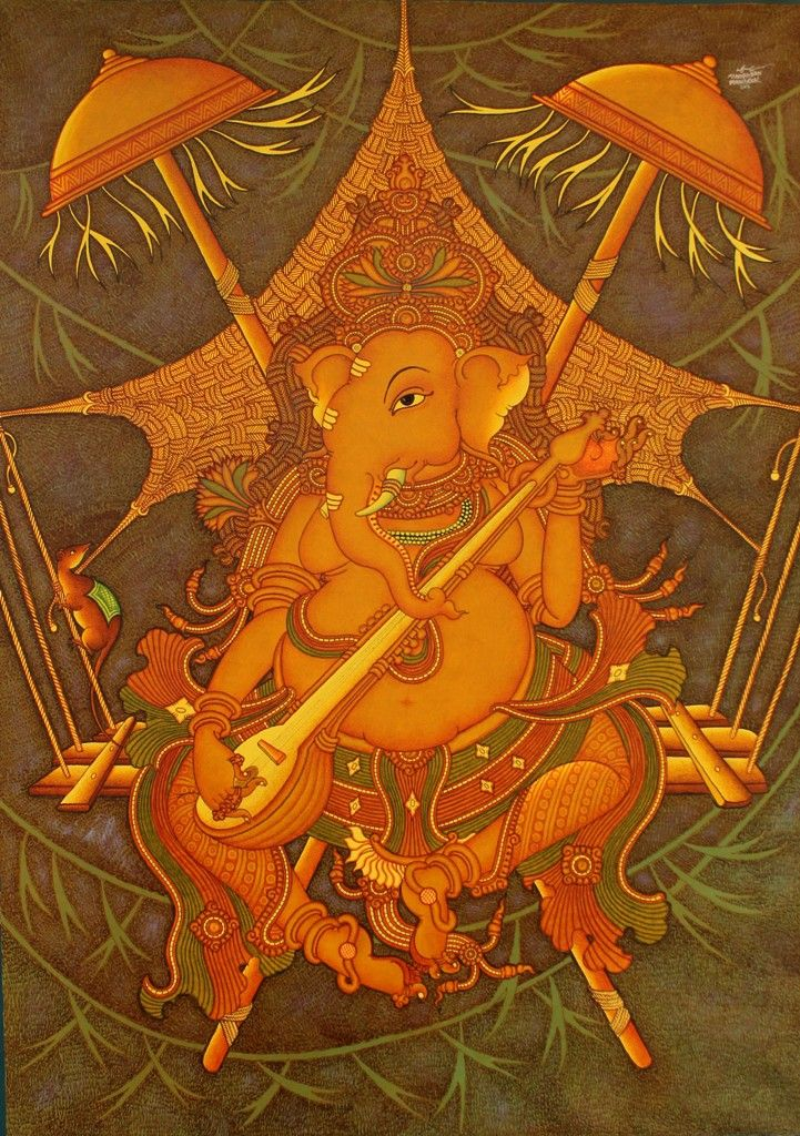 17 best images about kerala mural on pinterest wacom for Mural art of ganesha