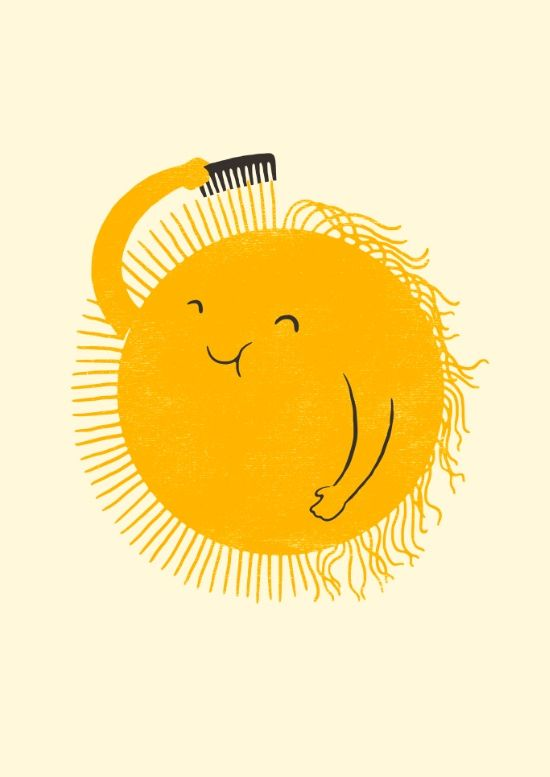 here comes the sun art print - sunshine combing his rays