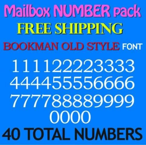 "Mailbox NUMBER PACK Decals BOOKMAN 3//4/"" 1/"" 1.5/"" 2/"" 2.5/""  3/"" FREE SHIP STICKERS"
