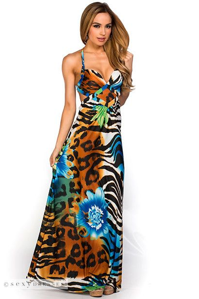 Colorful Brown and Blue Low Back Tropical Animal Print Beach Dress