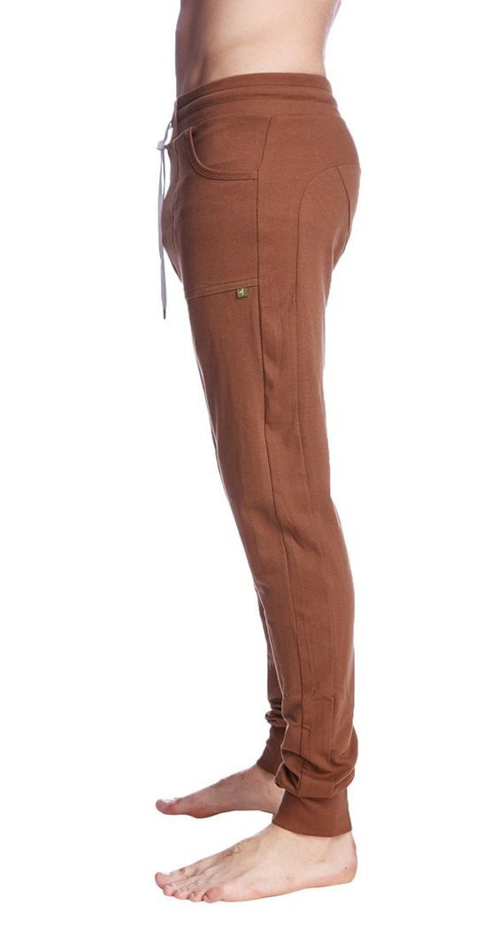 Long Cuffed Perfection Yoga Pants for men (Chocolate Brown) | Made in USA from organic fibers