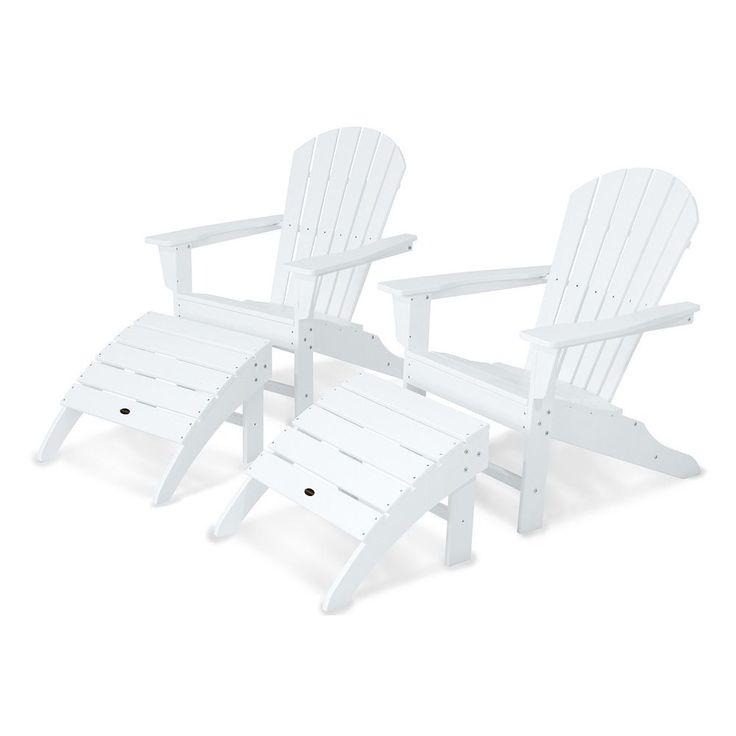 Polywood® 4-piece South Beach Outdoor Adirondack Chair & Ottoman Set, White