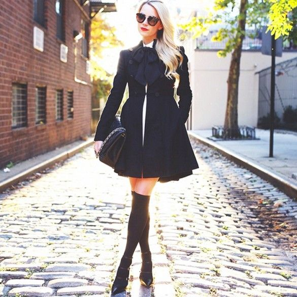 Coat dress, knee-high socks, and tie scarf for a feminine fall look. // #StreetStyle