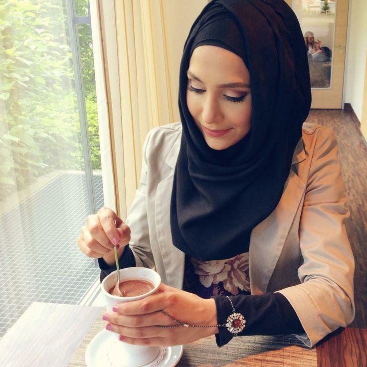 Elegant business black hijab blazer jewelry coffee tea yum