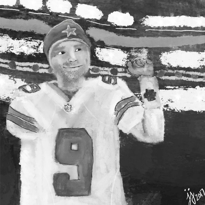 Growing up in Texas, Tony Romo was always a big deal. Thank you for what you've done for the Cowboys. Artwork by @jjanneanthony