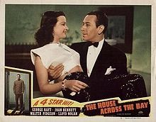 The House Across the Bay is a 1940 film directed by Archie Mayo, produced by Walter Wanger, written by Myles Connolly and Kathryn Scola, and released by United Artists. The picture involves a singer (Joan Bennett) who waits for an imprisoned gangster (George Raft) to be released from Alcatraz, and also features Lloyd Nolan and Walter Pidgeon. Some scenes of Pidgeon and Bennett in an airplane were filmed by Alfred Hitchcock as a favor to Wanger, who directed Foreign Correspondent for Wanger…