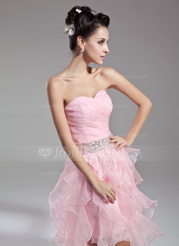 A-formet/Prinsesse Sweetheart Te lengde Organza Cocktailkjole med Perlebesydd Paljetter Brusende Volanger (016015121) - JenJenHouse