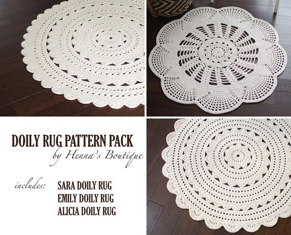 Crochet Doily Rug Pattern Pack Three Rugs By Hennasboutique